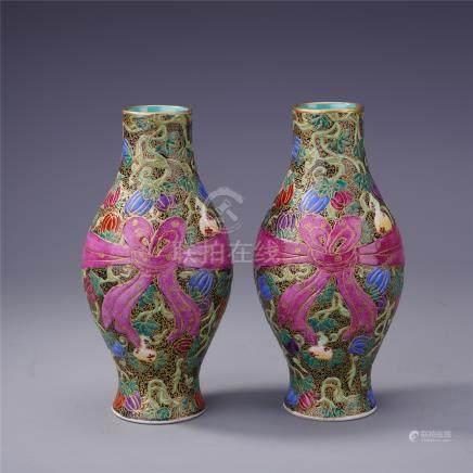 PAIR OF CHINESE PORCELAIN FAMILLE ROSE FLOWER VASES