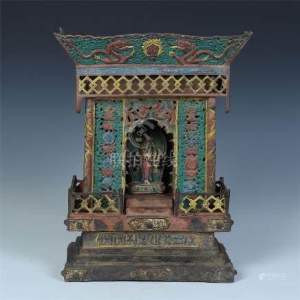 CHINESE COLOR BRONZE BUDDHIST NICHE