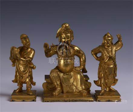 CHINESE GILT BRONZE SEATED GENERAL WITH TWO GUARDS