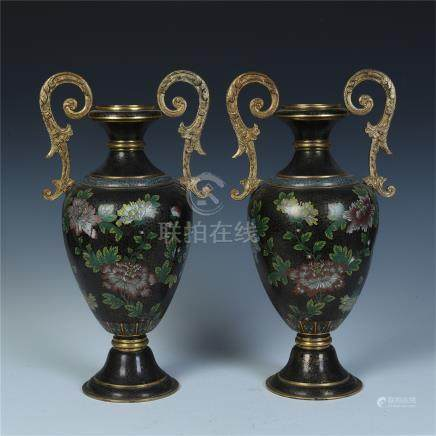 PAIR OF CHINESE CLOISONNE HANDLED VASES