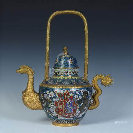 CHINESE CLOISONNE LONG HANDLE DRAGON KETTLE