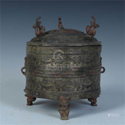 CHINESE SILVER INLAID BRONZE LIDDED DING CENSER
