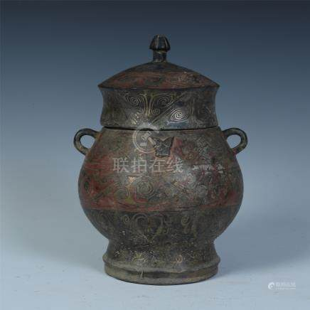 CHINESE SILVER INLAID BRONZE LIDDED JAR