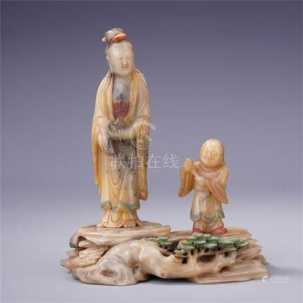 CHINESE COLOR SOAPSTONE STANDING GUANYIN WITH BOY