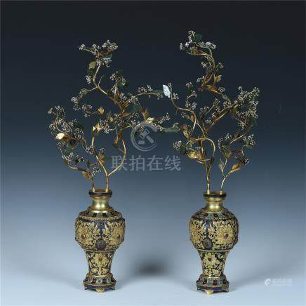 PAIR OF CHINESE GEM STONE INLAID GILT SILVER BENSAI IN BRONZE VASES