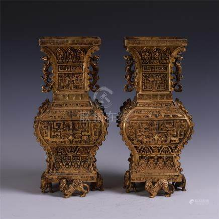 PAIR OF LARGE CHINESE GILT BRONZE SQUARE VASES