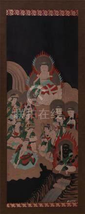 CHINESE SCROLL PAINTING OF BUDDHA GATHERING