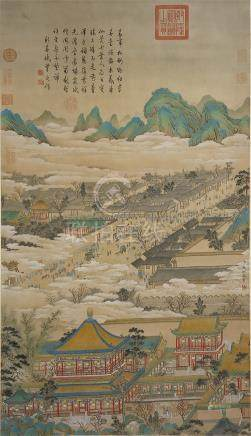 CHINESE SCROLL PAINTING OF PALACE IN MOUNTAIN