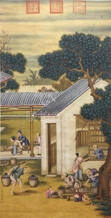 CHINESE SCROLL PAINTING OF STREET VIEWS
