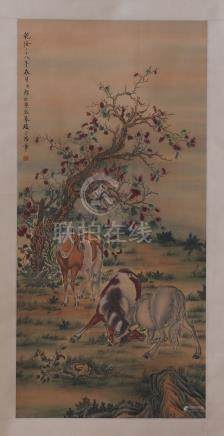 CHINESE SCROLL PAINTING OF HORSE UNDER TREE