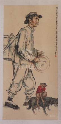 CHINESE SCROLL PAINTING OF MEN WITH MONKEY