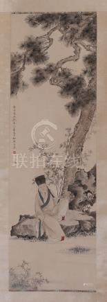 CHINESE SCROLL PAINTING OF MAN UNDER TREE
