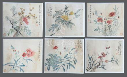 SIX PAGES OF CHINESE ALBUM PAINTING OF FLOWER