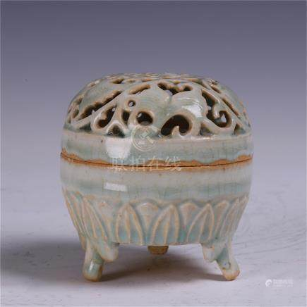 CHINESE PORCELAIN YUE WARE BLUE GLAZE INCENSE CAGE