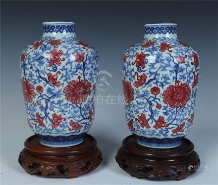 PAIR OF CHINESE PORCELAIN BLUE AND WHITE IRON RED FLOWER VASES