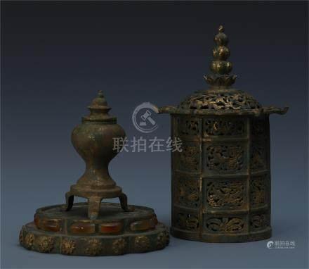 CHINESE GILT BRONZE BUDDHIST TOWER