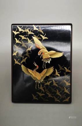 JAPANESE GILDED CRANE LACQUERWARE BOX