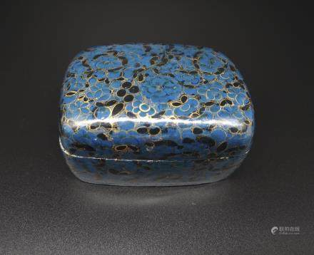 BLUE LACQUERED PETAL TRINKET BOX