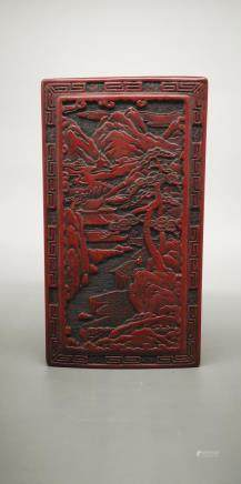 CARVED LANDSCAPE RED LACQUERWARE BOX
