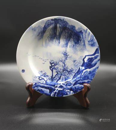 BLUE AND WHITE LANDSCAPE PORCELAIN PLATE