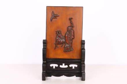 CARVED BAMBOO TABLE SCREEN & ZITAN WOOD STAND