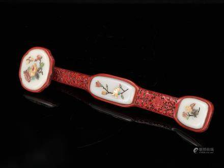 GEM STONE INLAID RED LACQUERED WOODEN RUYI SCEPTER