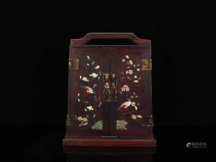 SEMI-PRECIOUS STONE INLAID ROSEWOOD JEWEL BOX