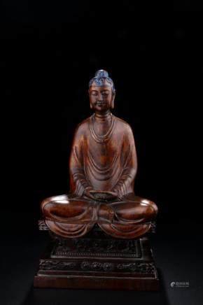 CHENXIANG WOOD FIGURE OF SEATED BUDDHA STATUE