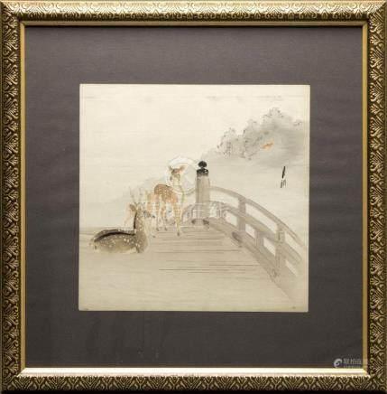 """Estampe japonaise """"Surimono"""" par Ohara KOSON (1877…"""