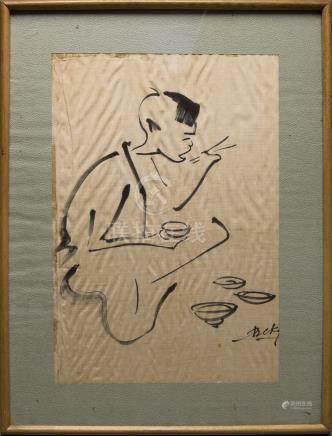 BE KY (né en 1938). Encre de Chine sur soie. Jeune…