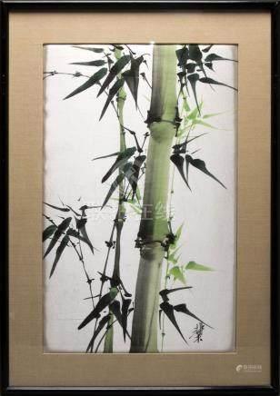 Ecole vietnamienne du XXe siècle. Bambous. Aquarel…