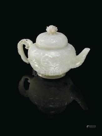 二十世紀初 白玉菩薩紋蓋壺