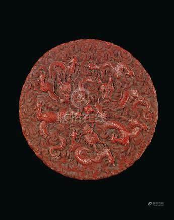 清乾隆 剔紅雲龍趕珠紋蓋盒 來源:於1980年4月8日購自巴黎古董商Compagnie de la Chine et des Indes 法國重要私人珍藏