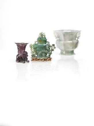 清 翠玉花鳥紋蓋瓶來源:日本私人舊藏