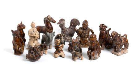 SIXTEEN GLAZED CERAMIC ZOOMORPHIC AND ANTHROPOMORPHIC SCULPT