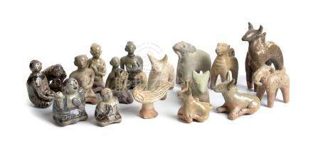 FIFTEEN GLAZED CERAMIC ZOOMORPHIC AND ANTHROPOMORPHIC SCULPT