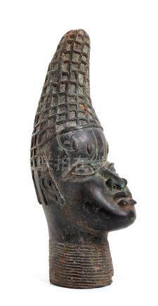 A BRONZE QUEEN HEAD