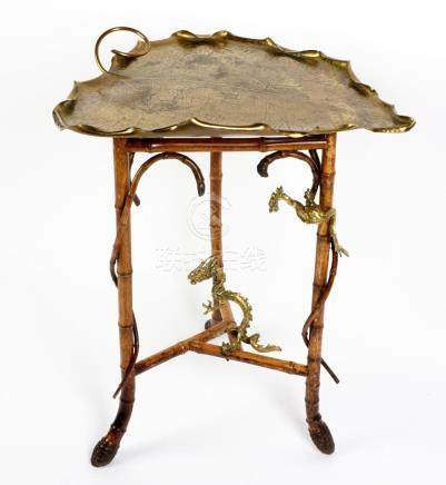 Japanese Bronze Water Lily Leaf Top Side Table