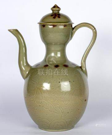 Chinese Celadon Incised Peonies Teapot