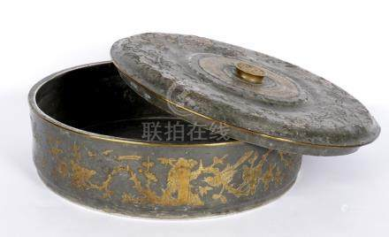 Chinese Pewter Inlaid Round Covered Box