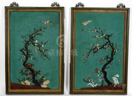 19th C. Pair Chinese Applied Jade Wall Panels