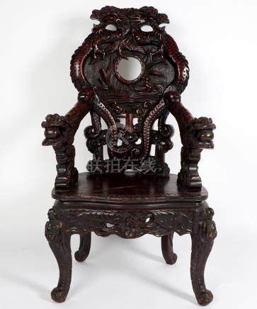 Japanese Dragon Carved Throne Chair