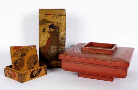 Three Japanese Lacquerware Covered Boxes