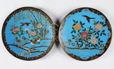 Two Chinese Cloisonne Plates