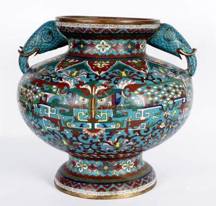 Large Chinese Cloisonne Censer with Elephants