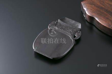端溪大西洞水岩太平有象砚(黄花梨盒)