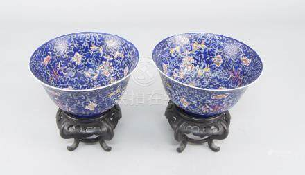 A pair of Chinese blue enamel porcelain bowls, late 20th century, with multi-colour meandering lotus