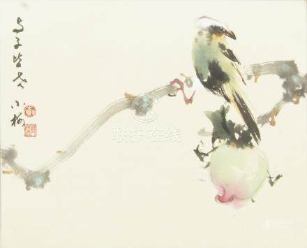 In the style of Zhao Shao Ag, a Chinese painting of a bird on bamboo, colour on paper, mounted,