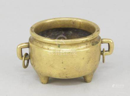 A Chinese polished bronze censer, 18th/19th century, with two rectangular handles with rings