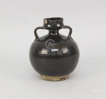 A Chinese brown black glazed stoneware pottery globular water pot, Song Dynasty style, late 19th/